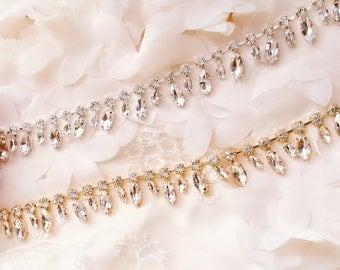 Golden Crystal Rhinestone Trim by the Yard  Bridal Trim silver Crystal Trim Rhinestone Applique