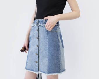 Two tone button front denim skirt