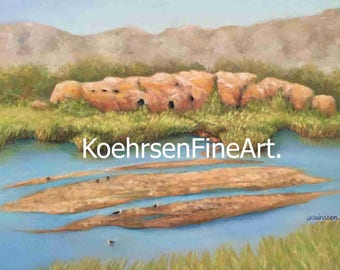 African Landscape, Pastel Painting, Original, Handmade, Custom Drawing