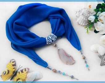 Woman scarves Blue chiffon scarf with Agate pendant Scarf jewelry Scarf Necklace Spring scarf Blue Chiffon shawl Woman gift for birthday