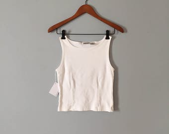 SALE...chalk white crop top | 90s white cotton pin tucked top