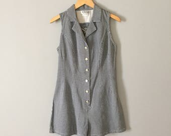laced back denim mini romper | 1980s gigham denim romper