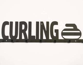 Curling Medal Holder, Curling Sport, Curling Ribbons, Curling Medal Display, Curling Ribbon Display, Curling Gift Ideas, Campfire Bay