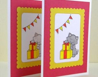 Cat Birthday Card, Cat Handmade Birthday Card, Kitty Birthday Card