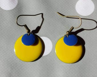 Earrings blue lemon yellow sequins
