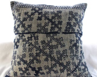 Contemporary Hand-Printed THAI INDIGO HEMP cushion!
