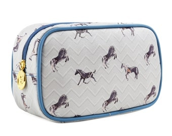 TaylorHe Make-up Bag Cosmetic Case Toiletry Bag Pencil Case Zipped Top Marble Horses.