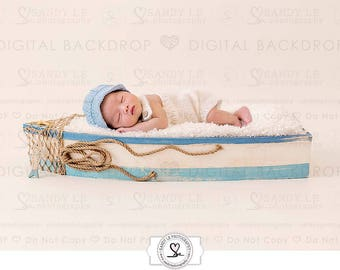 Newborn Digital Backdrop - Simple Blue and White Boat Background Composite