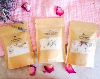 Bath Salts Sampler Bath Salts New mom gifts for her Detox Bath Soak Rose Lavender Natural Vegan Bath epsom salts Mothers day gift relaxation