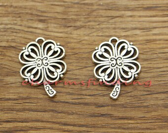 10pcs Clover Charm Pendants Good Luck 4 Leaf Clover Charm 2 Sided Antique Silver Tone 26x19mm cf1357