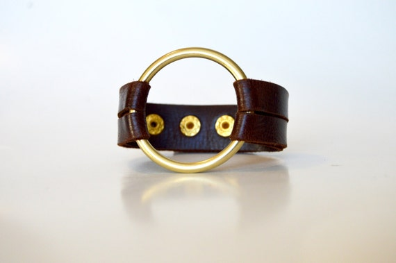 Leather Cuff With Large Brass Ring: Rich Dark Brown Double Strap Leather Cuff Bracelet With Large Brass Ring