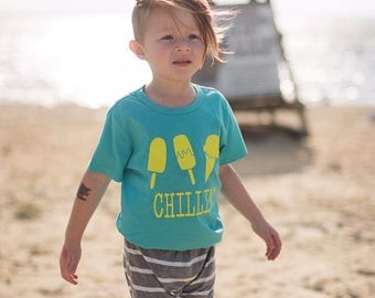 Springtime shirt for kids, ice cream shirt, popsicle shirt, chillin shirt for kids, LIME green design