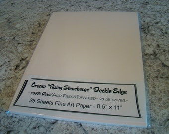Cream Rising Stonehenge Deckle Edge Paper 100% Rag Acid Free Buffered 90 lb cover 25 sheets 8.5 x 11 Watercolor Artist Fine Papers
