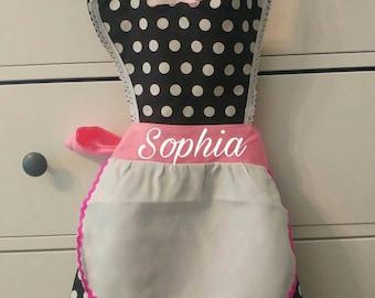 Personalized Kids Polka Dot Retro Apron / Girls Apron / Toddler Apron / Personalized Apron