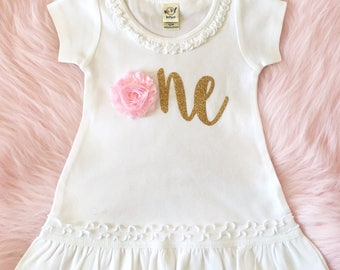 1st birthday outfit - First birthday pink and gold - Girl 1st birthday dress - Baby girl clothes - Toddler clothes - Baby dress
