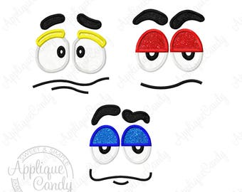 Candy Faces Applique Machine Embroidery Designs - Set of 3 - 3x3 4x4 5x7 INSTANT DOWNLOAD