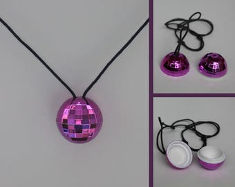 Necklace disco ball with secret compartment - purple glossy - disco ball necklace - necklace - Festival glitter box - hiding - reflecting