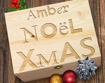 Personalised Noel Xmas Laser Etched Christmas Eve Wooden Gift Box