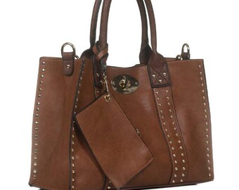 Monogrammed Purse and cosmetic bag set in Chocolate Brown - Personalized handbags