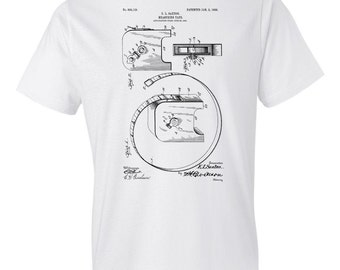 Retractable Measuring Tape T-Shirt Patent Art Gift, Tape Measure, Tape Measure T-Shirt, Carpenter Gift, Carpenter T-Shirt, Handyman Gift