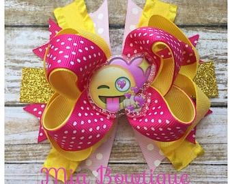 Emoji hair bow, emoji face bow, stacked boutique hair bow, emoji girl hair bow
