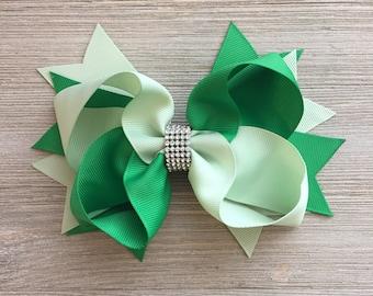 Ready to Ship! Rhinestone Green Hair Bow, Green Hair Bow,  Jumbo Green Hair Bow, Large Green Hair Bow, Christmas Hair Bow