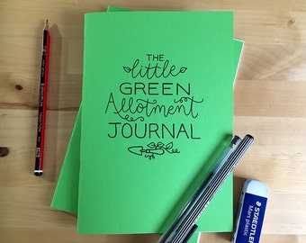 The Little Green Allotment Journal, A5, made with recycled paper and card.