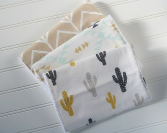 Cactus Burp Cloths | Cactus Baby| Southwest Burp Cloths | Burp Rags | Burp Cloth | Baby Gifts |