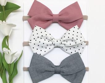 Fabric Bow Headband - Mauve, White, Chambray - Bow Headband - Clips or headbands