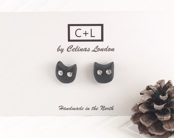 Black Cat earrings - Swarovski studded cat earrings - Black cat studs
