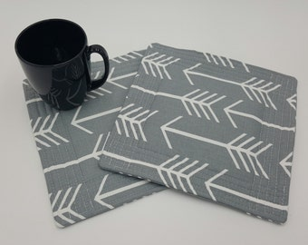 Arrow Grey Quilted Potholders - Set of 2 and Free Shipping!