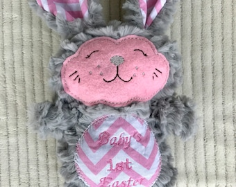 Stuffed Easter Bunny, Grey Stuffed Bunny, Pink Stuffed Bunny, Easter Gift, Stuffed Animal, Bunny Rabbit