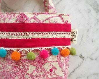 Little Girl's Tote Bag, Alice in Wonderland! Girly Bag, Vintage cotton linen with Pom pom, Girls purse, Girls Handbag! Gifts for girls!