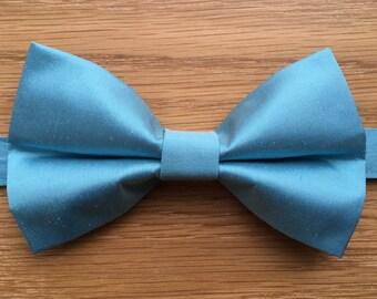 Men's Bow Tie, Bow Tie for Men, Luxury 100% Pure Silk Bow Tie, Aqua Blue Bow Tie