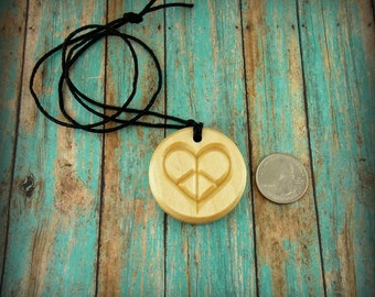 Peaceful Heart Wooden Carved Necklace, Peace Heart Pendant, Great Mothers Day Gift