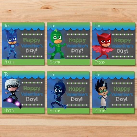 PJ Masks Valentine's Day Cards - Green Chalkboard - Boy PJ Masks Valentines - PJ Masks School Valentine's Day Cards - Pj Masks Party Favors