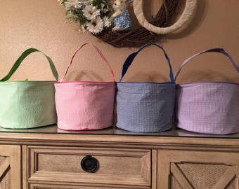 Personalized Easter Bucket, Gingham Easter bucket, Monogrammed Easter bucket, Easter basket