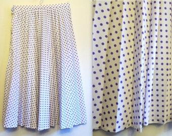 White Skirt Accordion Pleated Skirt Midi Skirt White Purple Polka Dot Print Skirt High Waisted Skirt Vintage 80s Skirt XS to S Size