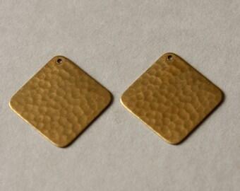 Hammered Brass Pendants, Brass Diamond Charms, Geometric Brass, Brass Components, Brass Square Pendant