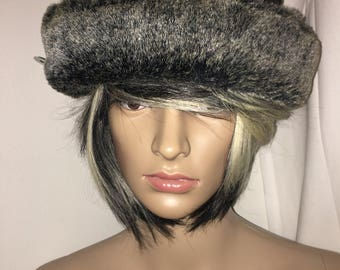 Vintage Grey Bowler Hat, 75% Wool with Faux Fur Trimming. Truly a classic