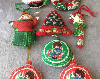 Fabric stuffed, christmas ornaments, set of 9, vintage, good condition