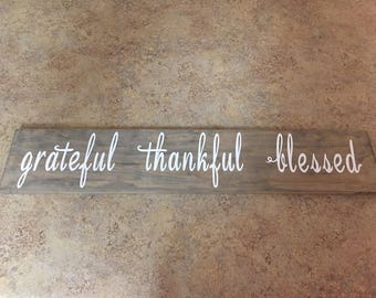 Rustic Wood Sign, Grateful Thankful Blessed Sign, Rustic Wall Decor, Wood Sign, Wall Decor, Wood Pallet Art, Reclaimed Wood Sign