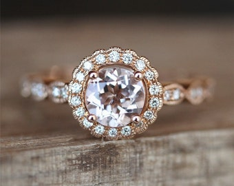 Vintage Morganite Engagement Ring VS 6mm Round Cut Morganite Ring Floral Halo Diamonds Ring Stackable Bridal Ring 14K Rose Gold Ring