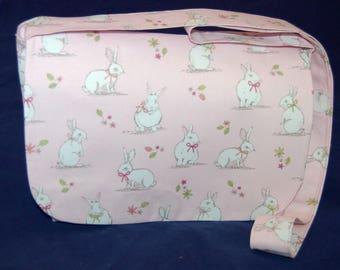 White Bunny Rabbits Messenger Bag Pink Fabric Handmade Shoulder Bag