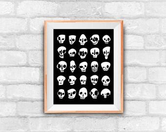 skull pattern downloadable art print, wall decor, halloween art, instant download