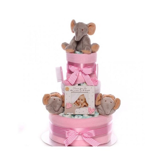 Elephant Nappy Cake Baby Girl, Nappy cake with an elephant theme, baby shower nappy cake, nappy cake fro a maternity leave