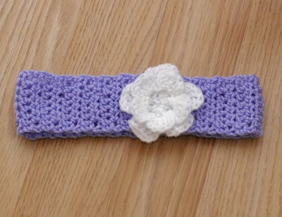 Baby Headband. Lilac headband. Baby girls headband with flower. Headband with flower. Purple and White Headband. Photo prop. Ready to ship.