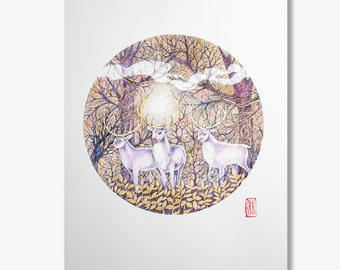 "Watercolor is an Original Hand Painted Print ""Deers"" from the artist Nadiya Vasilkova. Dotwork Original Ink Drawing Original painting"