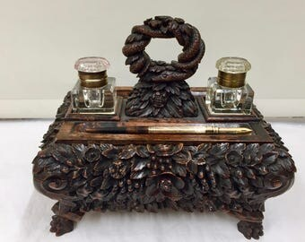 Fine Antique Anglo Indian Padouk Wood Inkstand , Desk Companion