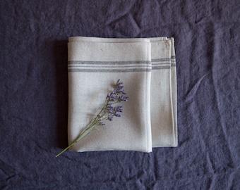 SALE! Natural linen kitchen towel / 48 X 84 cm / natural linen / eco linen / grey linen with black line